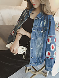 Veste en jean Femme,Couleur Pleine Décontracté / Quotidien simple Printemps Manches longues Revers en Pointe Normal Coton
