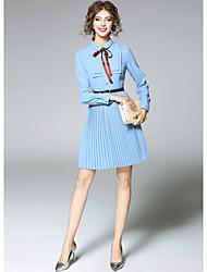 Trapèze Robe Femme Sortie Mignon,Couleur Pleine Col de Chemise Au dessus du genou Manches Longues Polyester Automne Taille Normale