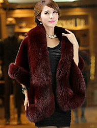 Women's Party Casual/Daily Simple Winter Fur Coat,Solid Round Neck Sleeveless Regular Faux Fur Fur Trim