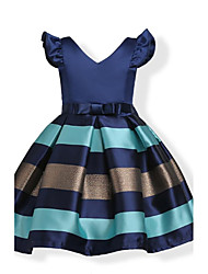 Girl's Birthday Daily Holiday Solid Striped Dress,Cotton Fall All Seasons Short Sleeve Bow Stripes Navy Blue