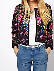 Women's Casual/Daily Boho Fall Winter Jacket,Print Color Block Round Neck Long Sleeve Short Cotton Polyester