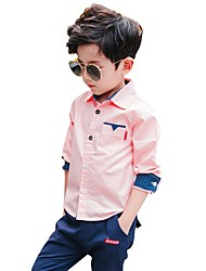 cheap -Boys' Floral Shirt,Cotton Fall All Seasons Long Sleeve Floral White Blushing Pink