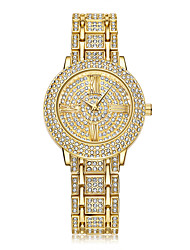 abordables -Mujer Reloj de Pulsera Chino Calendario / Creativo / La imitación de diamante Acero Inoxidable Banda Destello / A lunares / Casual Plata / Dorado / Oro Rosa