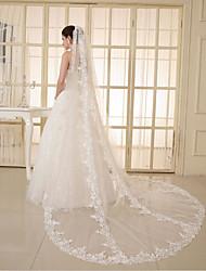 Uma Camada Borda com aplicação de Renda Véus de Noiva Véu Cotovelo Véu Capela Com Apliques Gliter com Brilho Tule