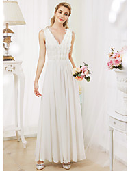 cheap -Princess V Neck Floor Length Chiffon Lace Custom Wedding Dresses with Beading by LAN TING BRIDE®