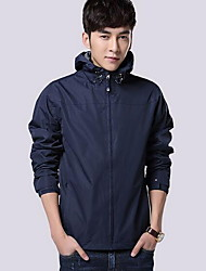 Men's Sports Simple Fall Winter Jacket,Solid Hooded Long Sleeve Regular Polyester