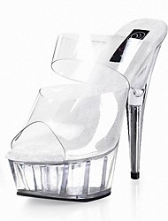 cheap -Women's Shoes Lace PVC Summer Formal Shoes Sandals Stiletto Heel Peep Toe Crystal for Dress Party & Evening Clear