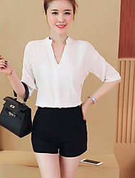 Women's Going out Casual/Daily Simple Summer Blouse,Solid V Neck Short Sleeves Acrylic Medium