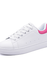 Women's Sneakers Comfort Spring Fall Leatherette Walking Shoes Casual Outdoor Lace-up Platform Black Pink/White Black/White White/Green
