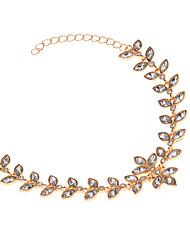 baratos -Mulheres Gema Imitações de Diamante Pulseiras em Correntes e Ligações - Personalizada Fashion Trevo de Quatro Folhas Dourado Prata