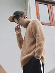 cheap -Men's Daily Going out Short Pullover,Solid Turtleneck Long Sleeves Wool Others Mohair Spring Fall Medium Micro-elastic