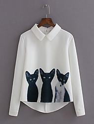Для женщин Повседневные Осень Рубашка Рубашечный воротник,Очаровательный С животными принтами Длинный рукав,Полиэстер,Средняя