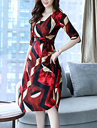 Women's Going out Casual/Daily Boho A Line Dress,Print V Neck Midi Half Sleeve Polyester Summer Fall High Rise Inelastic Medium