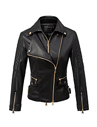 Women's Sports Going out Casual/Daily Simple Winter Fall Leather Jacket,Solid Notch Lapel Long Sleeve Regular Others