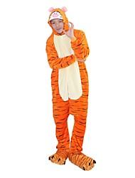 cheap -Adults' Kigurumi Pajamas with Slippers Tiger Onesie Pajamas Costume Flannel Fabric Cosplay For Animal Sleepwear Cartoon Halloween Festival / Holiday / Christmas
