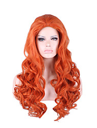 Synthetic Natural Wig Orange Long Curly Wig for Women Costume Wigs Cosplay Capless Wig