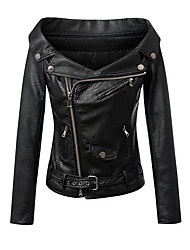 cheap -Women's Daily Simple Casual Fall Leather Jacket,Solid Shirt Collar Long Sleeve Short PU