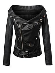 baratos -Mulheres Jaquetas de Couro Sólido Colarinho de Camisa