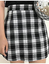 cheap -Women's Going out Above Knee Skirts A Line Color Block Check Summer