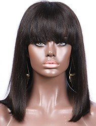 cheap -New Arrival Silky Straight Bob 13x6 Lace Front Wig With Bangs Brazilian Human Hair Non-Remy 130 Density 8-16inch For Black Women
