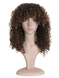 cheap -Synthetic Wig Curly African American Wig Brown Women's Capless Natural Wigs Long Synthetic Hair