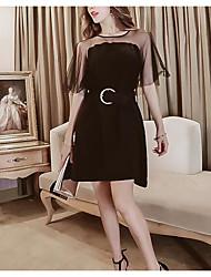 Damen Hülle Kleid-Lässig/Alltäglich Einfach Solide Rundhalsausschnitt Mini Übers Knie Kurzarm Baumwolle Sommer Hohe Hüfthöhe