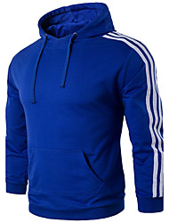 Men's Plus Size Sports Outdoor Daily Sports Plus Size Running Casual Active Hoodie Striped Color Block Hooded Micro-elastic Cotton Rayon