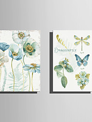 E-HOME Stretched Canvas Art  Quietly Elegant Flowers And Butterflies Series 1  Decoration Painting Set Of 2