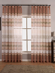 Rod Pocket Grommet Top Tab Top Double Pleated Pencil Pleated Curtain Vintage , Geometic Living Room Material Sheer Curtains Shades Home