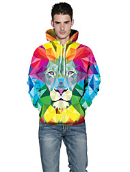 Men Realistic 3d Digital Lion Print Women Unisex Pullover Sports Outdoor Active Hoodie Hooded Inelastic Polyester Long Sleeve Spring Fall Rainbow