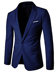 cheap -Men's Work Cotton Blazer - Solid Colored Shirt Collar