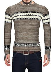 Standard Pullover Da uomo-Casual Ufficio Vintage Semplice A strisce Monocolore Rotonda Manica lunga Lana Pelliccia sintetica Cotone