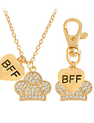Lovely BFF Best Friend Forever Dog Pet Animal Keychain Tag and Necklace