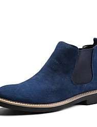 cheap -Men's Boots Fashion Boots Bootie Fall Winter Suede Cowhide Casual Outdoor Office & Career Lace-up Flat Heel Black Gray Blue Flat