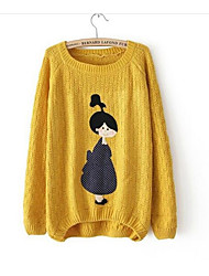 Women's Going out Casual/Daily Simple Cute Regular Pullover,Print Round Neck Long Sleeves Wool Fall Medium Micro-elastic
