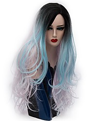 cheap -Synthetic Hair Wigs Natural Wave Ombre Hair Carnival Wig Halloween Wig Party Wig Natural Wigs Long Light Blue