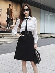 DABUWAWA Women's Holiday Going out Casual/Daily Work Sexy Vintage Sophisticated Spring Fall ShirtSolid Shirt Collar Long Sleeves Polyester Nylon