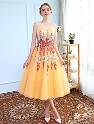Ball Gown Princess Jewel Neck Tea Length Tulle Graduation Cocktail Party Dress with Embroidery by SG