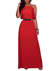 Women's Party Going out Club Casual Sexy Street chic Sheath Dress,Solid Square Neck Maxi Sleeveless Polyester Spring Summer High Rise