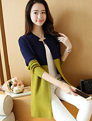cheap -Women's Long Sleeves Loose Long Cardigan - Color Block