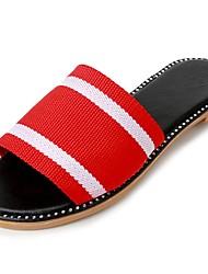 cheap -Women's Shoes Fabric Summer Comfort Slippers & Flip-Flops Flat Heel Round Toe Split Joint for Dress Black Red