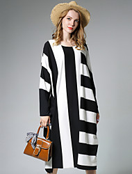 Ample Robe Femme Grandes Tailles simple,Rayé Col Arrondi Midi Manches Longues Coton Polyester Automne Taille Normale Micro-élastique Moyen