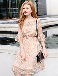 cheap -Women's Petal Sleeve A Line Sheath Chiffon Dress - Floral, Ruffle Ruched
