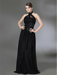 cheap -A-Line Halter Neck Floor Length Tulle / Stretch Satin Celebrity Style Formal Evening Dress with Beading / Pleats by TS Couture®
