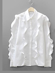 Women's Going out Work Vintage Spring ShirtSolid Button Down Collar Long Sleeves Cotton