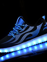 Women's Athletic Shoes Walking Light Up Shoes Light Soles PU Spring Fall Athletic LED Lace-up Flat Heel Black/Blue Black/White Flat