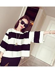 Standard Cardigan Da donna-Casual Tinta unita A strisce Rotonda Mezza manica Cotone Primavera Autunno Medio spessore Anelastico