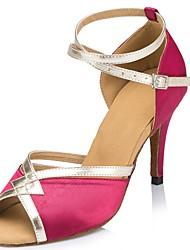 baratos -Mulheres Sapatos de Dança Latina Seda Sandália Cruzado Salto Agulha Personalizável Sapatos de Dança Roxo / Fúcsia / Vermelho / Espetáculo