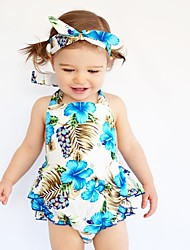 cheap -Baby Girls' Print One-Pieces,Cotton Summer Floral Sleeveless Light Blue