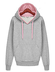Women's Daily Casual Hoodie Solid Color Block Hooded Micro-elastic Cotton Long Sleeve Fall